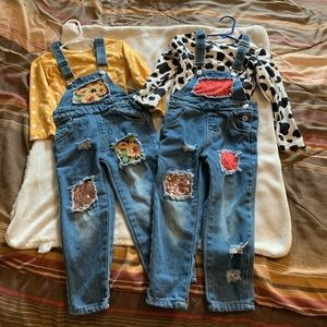 2 sets of fall overalls! size M(4t)